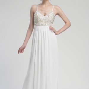 Sue Wong Beaded Spaghetti Strap Gown